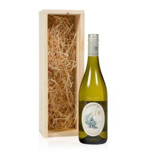 Witte wijn in kistje