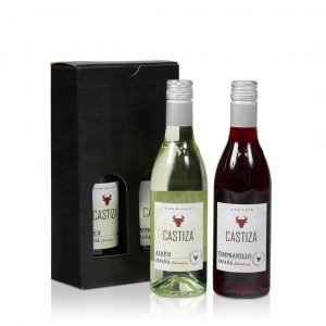 Klein flesje rode en witte wijn