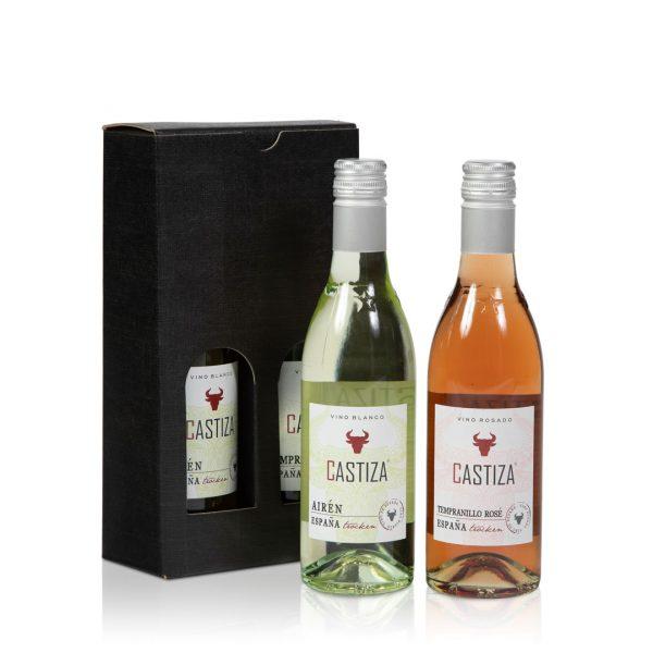 Klein flesje wit en Rosé wijn